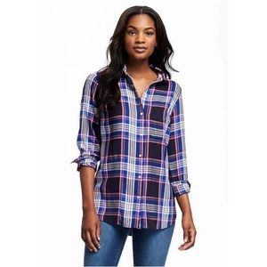 Old Navy Plaid Flannel Shirt Button Up Cotton